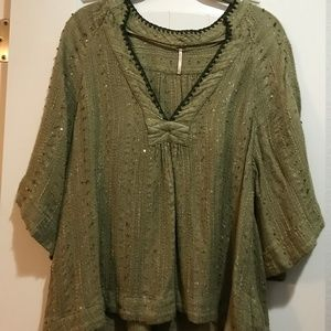 Green Sequined Free People Tunic